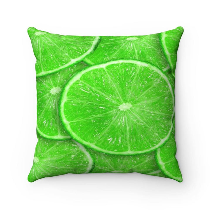 Sliced Lime Design Faux Suede Pillow - Yours fruitfully