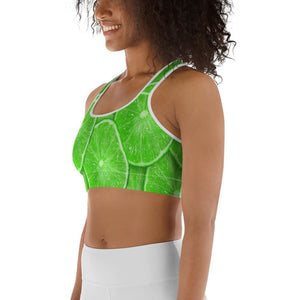 Sliced Lime Design Sports bra - Yours fruitfully