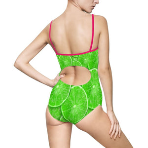 Sliced Lime Design Women's One-piece Swimsuit - Yours fruitfully