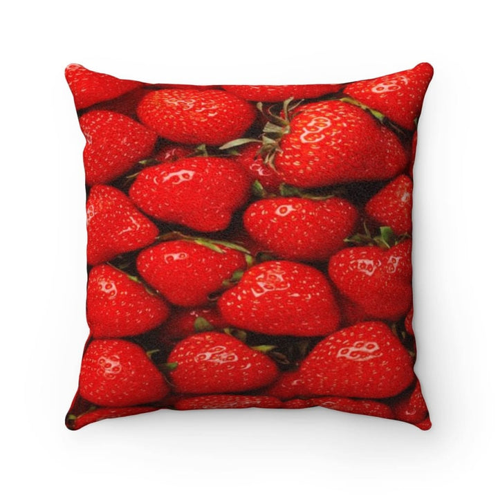 Strawberries Design Faux Suede Pillow - Yours fruitfully