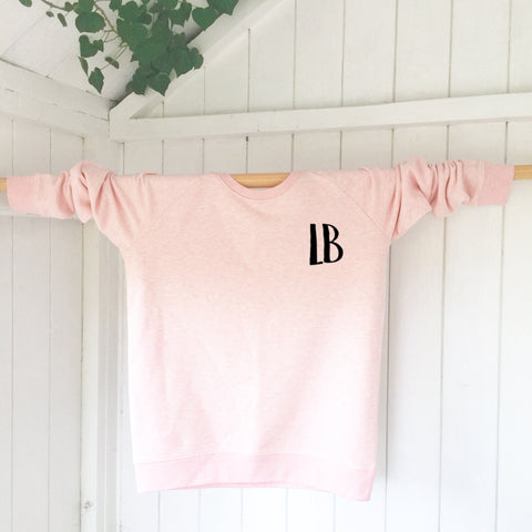 Ladies' organic cotton & recycled polyester sweatshirt - Letters - Pink - Handmade Goose