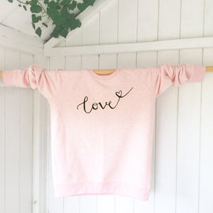 Ladies' organic cotton & recycled polyester sweatshirt - Love - Pink - Handmade Goose