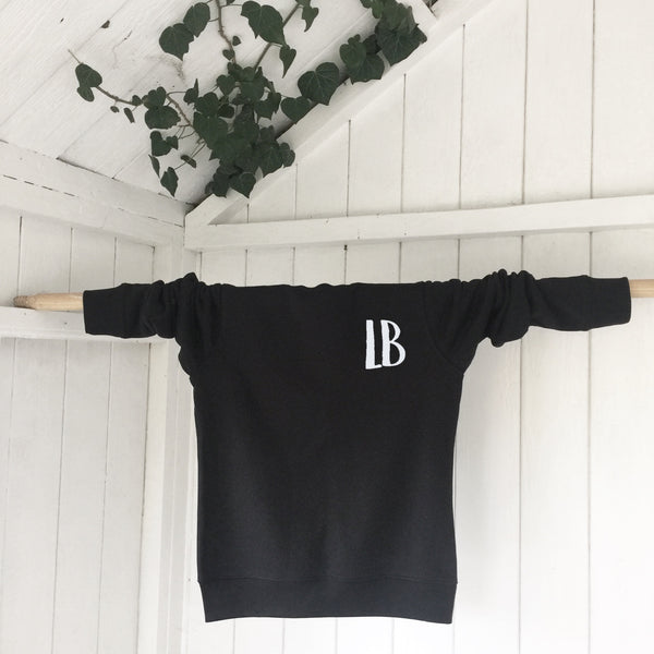 Ladies' organic cotton & recycled polyester sweatshirt - Letters - Black - Handmade Goose