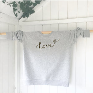Ladies' organic cotton & recycled polyester sweatshirt - Love - Grey - Handmade Goose