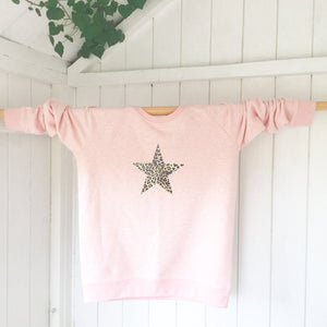 Ladies' organic cotton and recycled polyester sweatshirt - Star - Pink - Handmade Goose