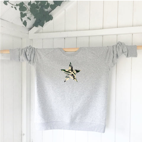 Ladies' organic cotton and recycled polyester sweatshirt - Star - Grey - Handmade Goose