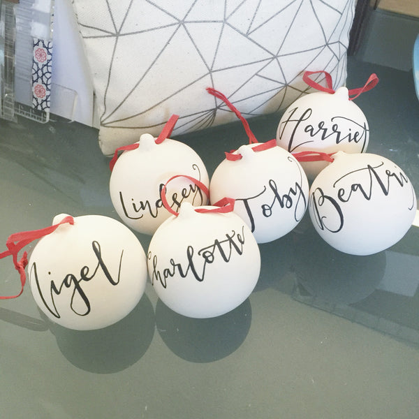Personalised ceramic bauble decoration - Handwritten calligraphy name - Handmade Goose