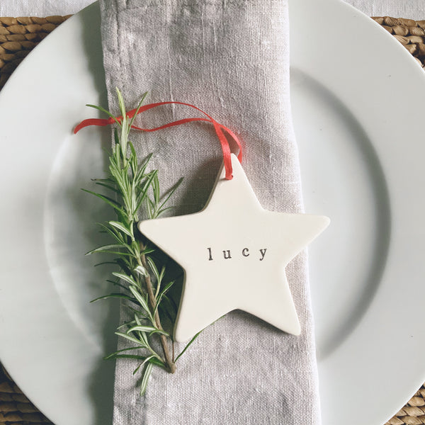 Personalised ceramic star decoration - Hand stamped name - Handmade Goose