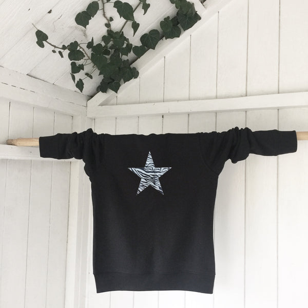 Ladies' organic cotton and recycled polyester sweatshirt - Star - Black - Handmade Goose