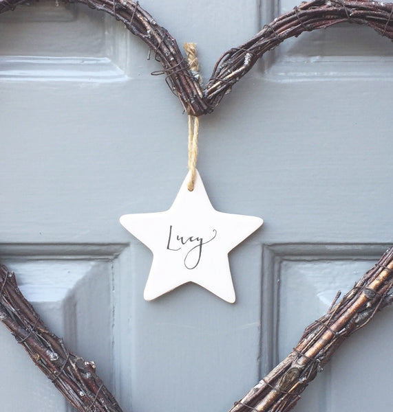 Personalised ceramic star decoration - Handwritten calligraphy name - Handmade Goose