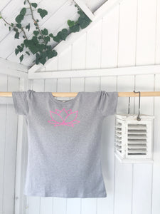 Ladies' organic T-shirt - Lotus - Grey - Handmade Goose
