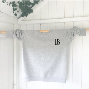 Ladies' organic cotton & recycled polyester sweatshirt - Letters - Grey - Handmade Goose