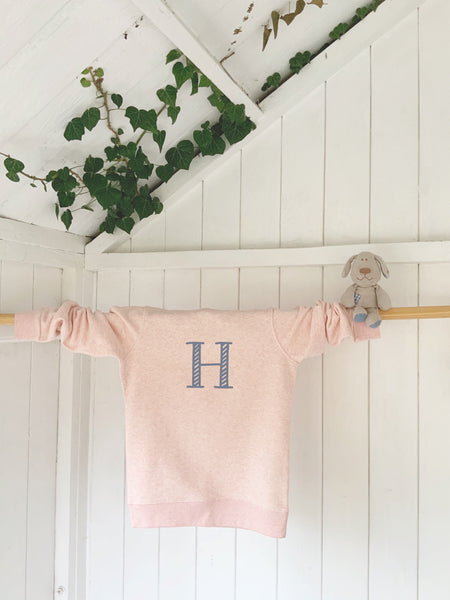 Custom kids organic cotton and recycled polyester sweatshirt - Pink - Handmade Goose