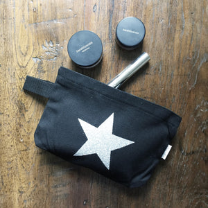 Stationery - Black pouch star - Handmade Goose