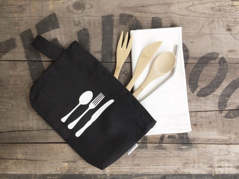 Stationery - Black pouch cutlery - Handmade Goose