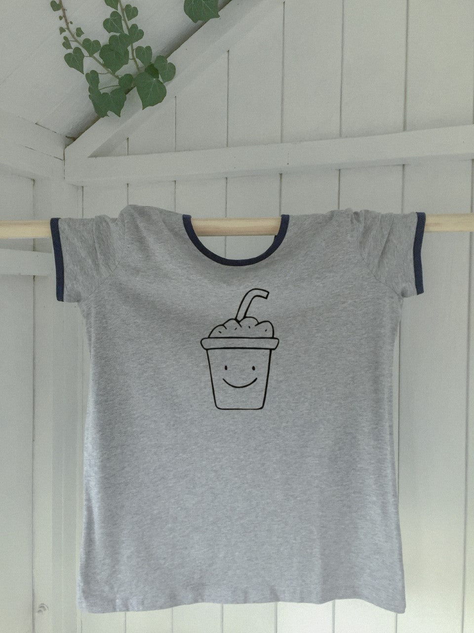 Ladies' Navy trim T-shirt - Milkshake - Handmade Goose