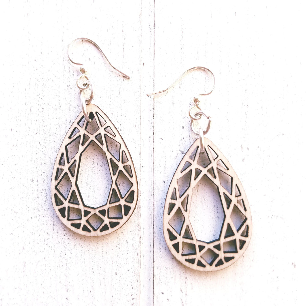 Teardrop Earrings - Natural Wood
