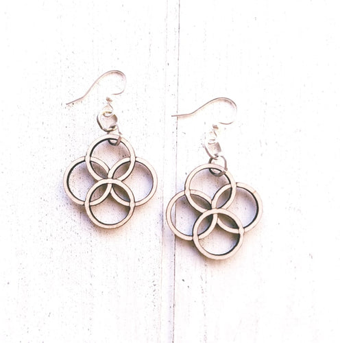 Integrated Circle Earrings - Natural Wood