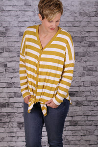 Striped V-Neck Tie Front Top