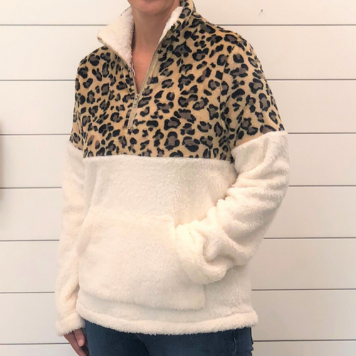 Leopard Half-Zip Fleece Pullover