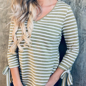 Olive Striped V-Neck with Tie Sleeves