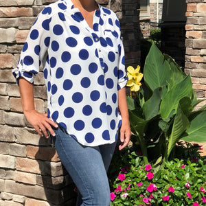 Polka Dot Henley Tunic Top