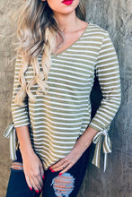 Load image into Gallery viewer, Olive Striped V-Neck with Tie Sleeves