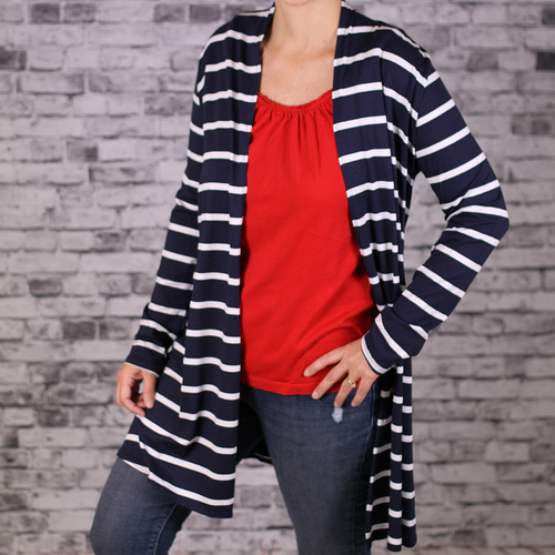 Lightweight Navy and White Cardigan
