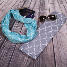 Load image into Gallery viewer, Gray Infinity Travel Pocket Scarf