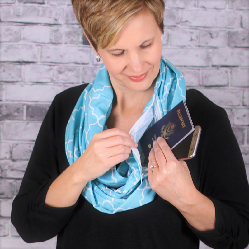 Teal Infinity Travel Pocket Scarf