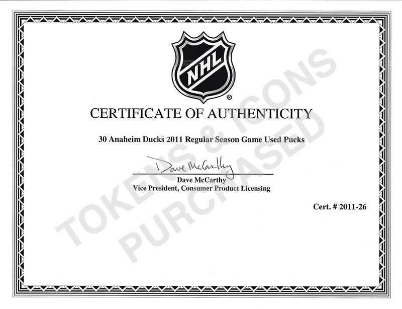 Anaheim Ducks Game Used Puck Letter of Authenticity Purchased by Tokens & Icons