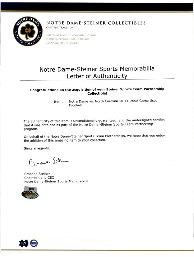 notre dame letters of authenticity