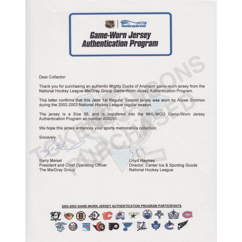 Anaheim Ducks Game Used Jersey Letter of Authenticity Purchased by Tokens & Icons
