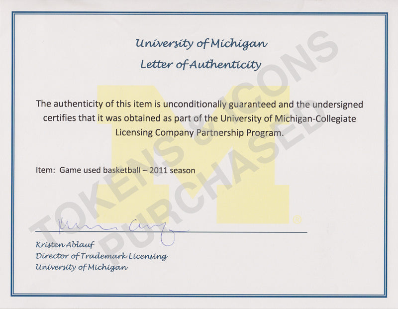 info for 8dee7 625d1 University of Michigan Letters of Authenticity | Tokens & Icons
