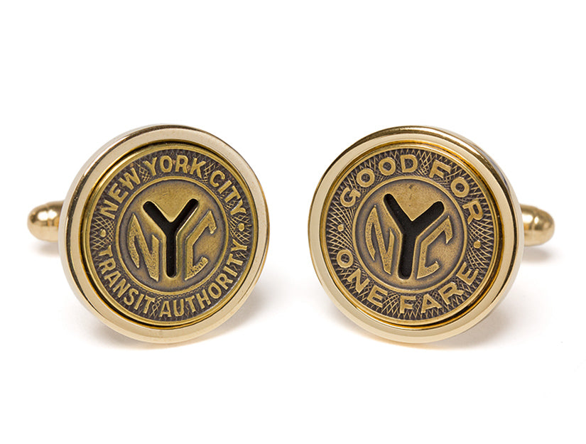 New York Transit Token Cuff Links - Silver or Gold Plated