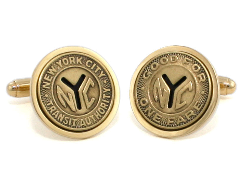 Limited Edition - New York Transit Token Cuff Links with Gold Bezel