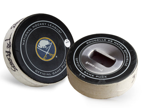 Buffalo Sabres Game Used Goal Puck Bottle Opener - First Career Assist