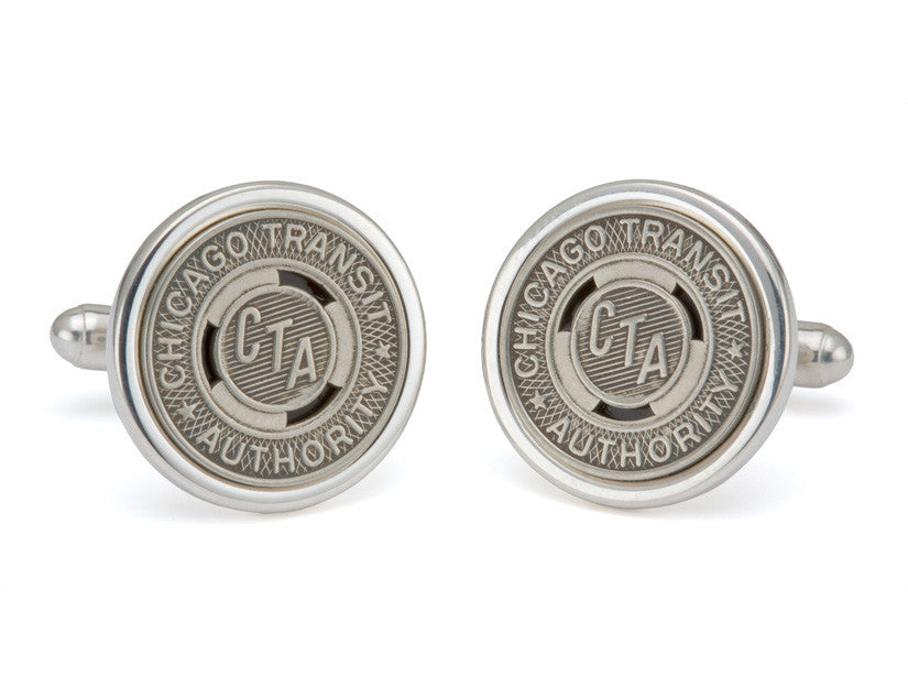 Sterling Silver Chicago Transit Token Cuff Links by Tokens & Icons