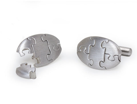 Workable Jigsaw Puzzle Cuff Links by Antonio Bernardo