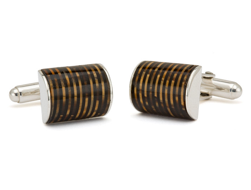 Brown Celluloid Pen Barrel Cuff Links by Tokens & Icons