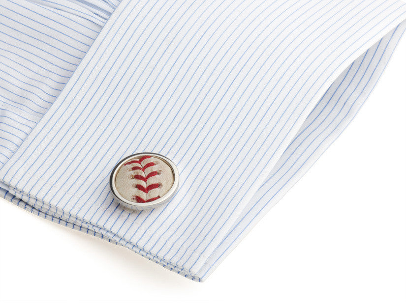 MLB Authenticated Game Used Baseball Cuff Links on Cuff by Tokens & Icons