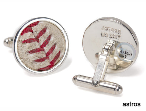 Houston Astros 2017 World Series Game Used Baseball Cuff Links