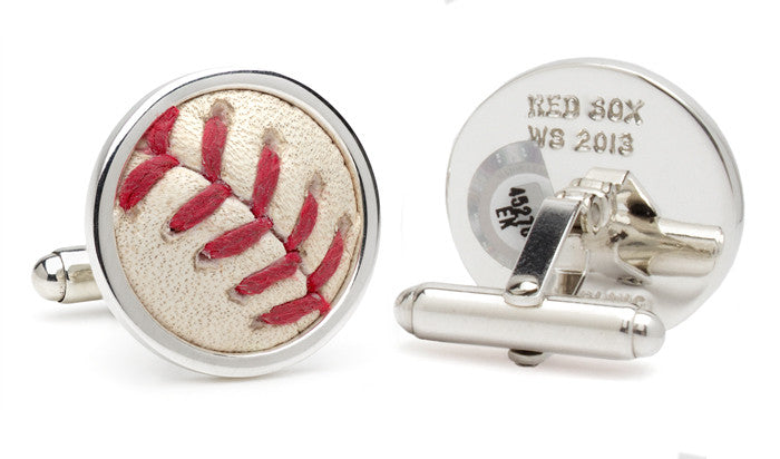 Boston Red Sox '07 & '13 World Series Game Used Baseball Cuff Links