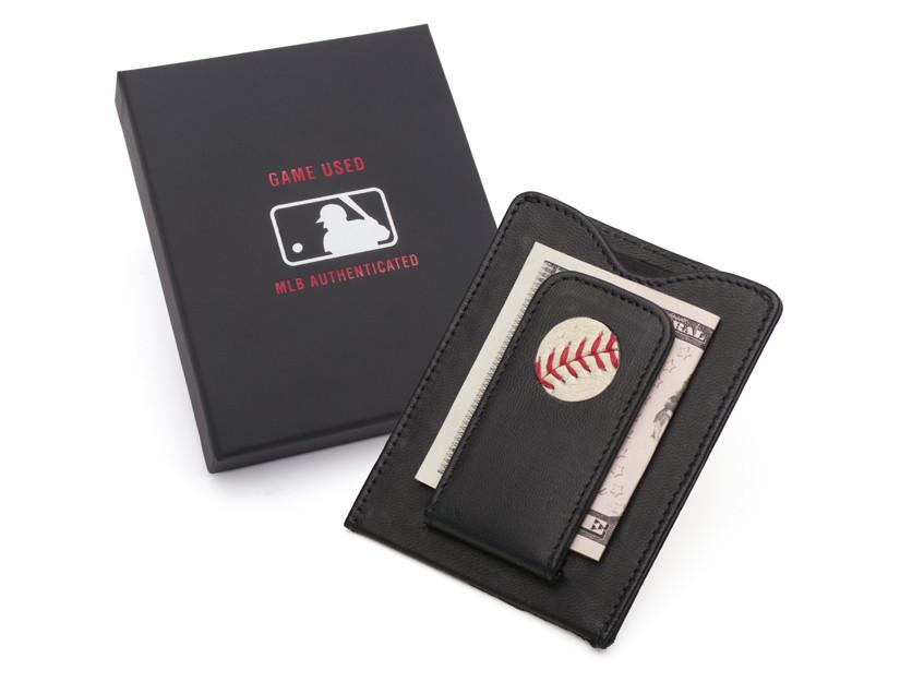 MLB Authenticated Game Used Baseball Money Clip Wallet with Packaging by Tokens & Icons