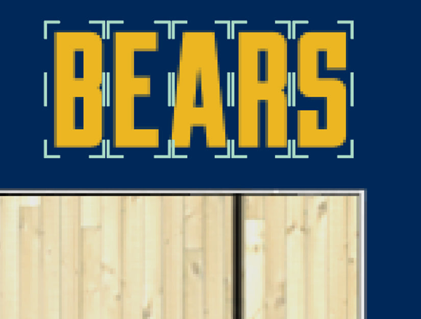 UC Berkeley Custom Haas Pavilion Basketball Floor Baseline Letters Coffee Table