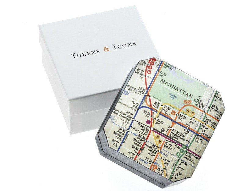 New York Subway Map Cuff Links Box by Tokens & Icons