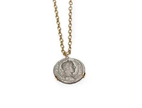 Limited Edition - Silver Roman Coin Pendant With Gold Prong Setting