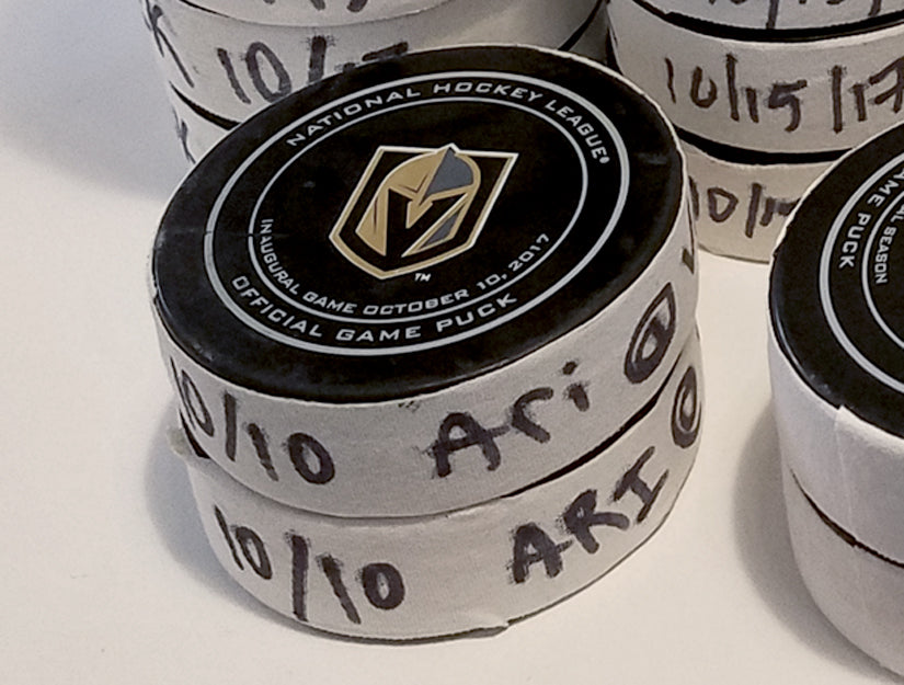 Vegas Golden Knights Game Used Puck Cuff Links - Franchise First Home Game