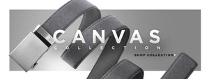 Grey belt made out of canvas material - click to shop canvas collection