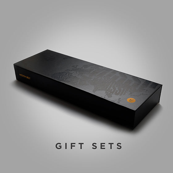 Black gift box with glossy black design - click to view Misison Belt gift sets